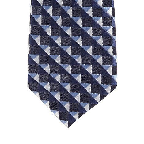 Baker by Ted Baker - Boy+s navy geometric striped skinny tie