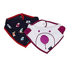 Baker by Ted Baker - Pack of two babies white and navy polar bear print bibs