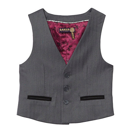 Baker by Ted Baker - Boy+s grey +Baker Best+ three button waistcoat