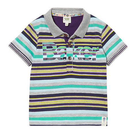 Baker by Ted Baker - Babies grey striped logo polo shirt