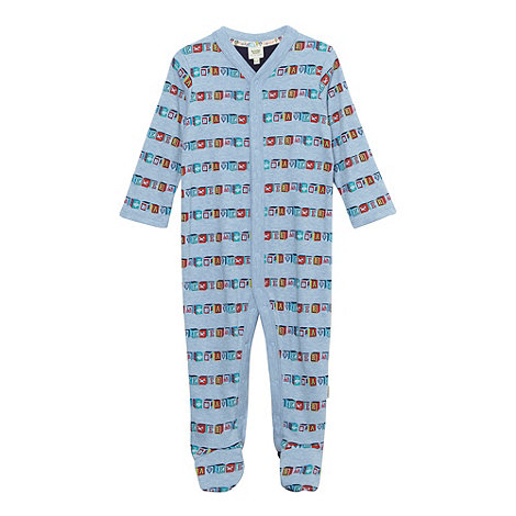 Baker by Ted Baker - Babies blue building blocks printed sleepsuit