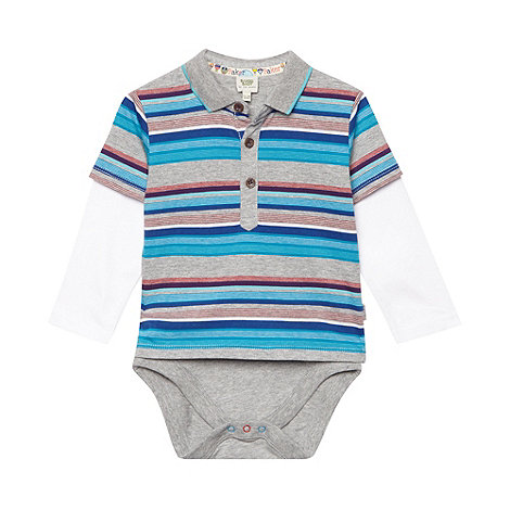 Baker by Ted Baker - Babies grey striped polo bodysuit