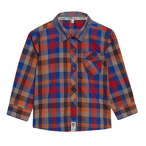 Baker by Ted Baker - Babies blue tipped collar checked shirt