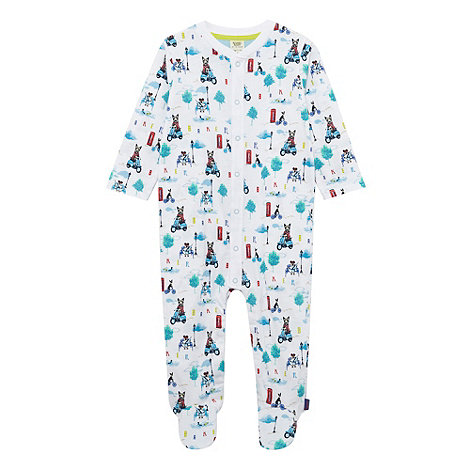 Baker by Ted Baker - Babies white city dog print sleepsuit