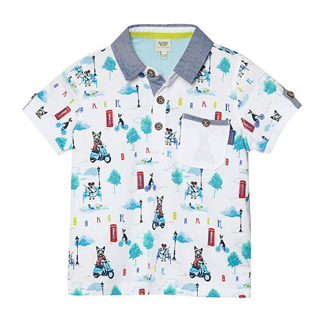 Baker by Ted Baker - Babies white city dog printed polo shirt