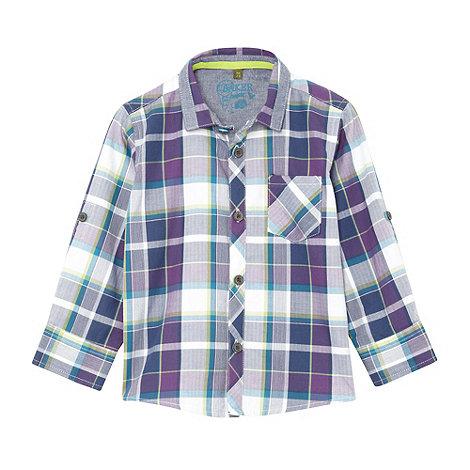 Baker by Ted Baker - Babies purple herringbone checked shirt