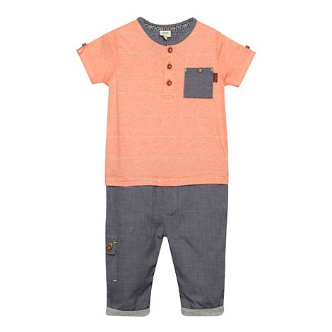 Baker by Ted Baker - Babies all in one orange polo shirt and woven trousers outfit