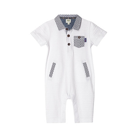 Baker by Ted Baker - Babies white jacquard striped romper suit
