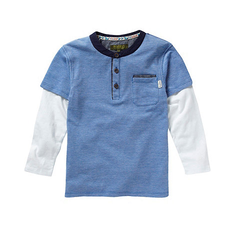 Baker by Ted Baker - Boy+s blue pique collarless polo shirt