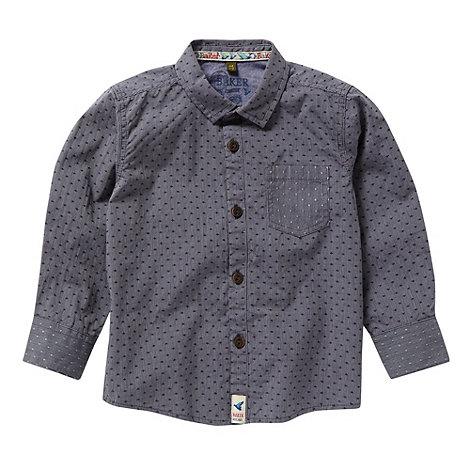 Baker by Ted Baker - Boy+s navy dot stitch button shirt