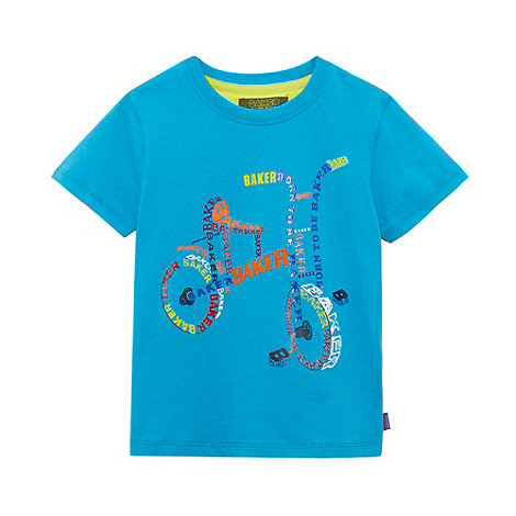 Baker by Ted Baker - Boy+s blue logo bicycle print t-shirt