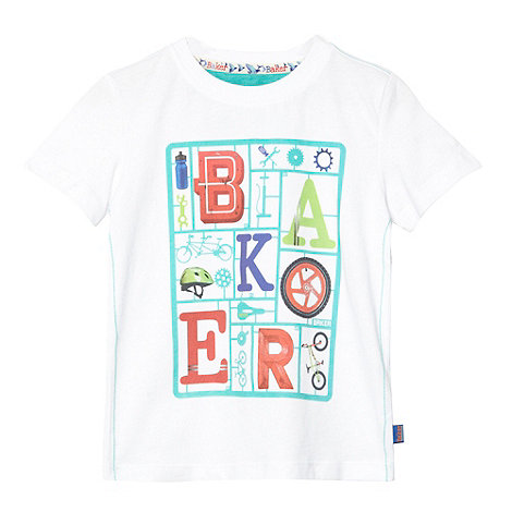 Baker by Ted Baker - Boy+s white bike part and logo printed t-shirt