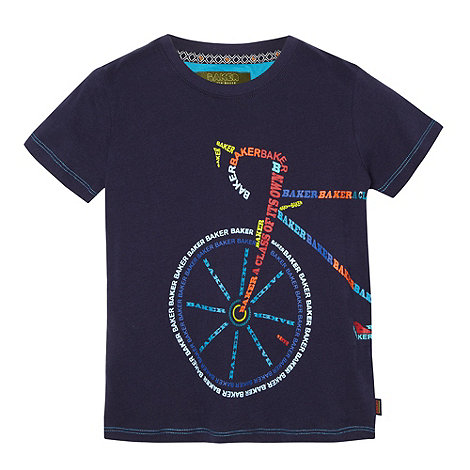 Baker by Ted Baker - Boy+s navy logo bicycle print t-shirt