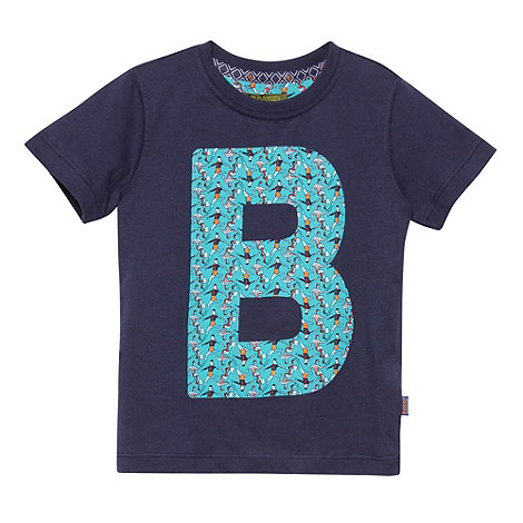 Baker by Ted Baker - Boy+s navy graphic football logo t-shirt