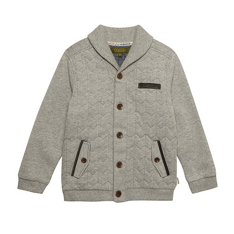 Baker by Ted Baker - Boy+s grey chevron quilted sweat cardigan