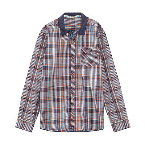 Baker by Ted Baker - Boy+s navy checked long sleeved shirt