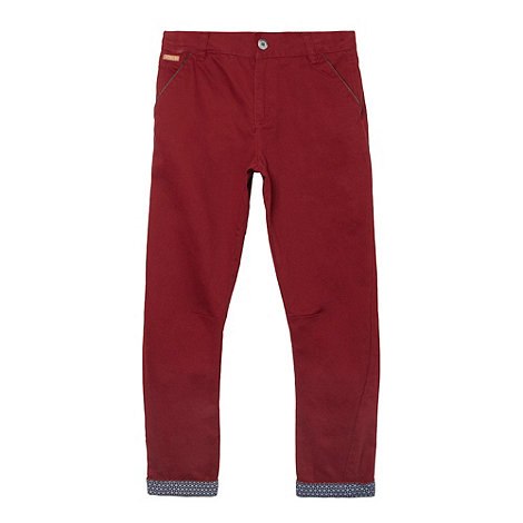 Baker by Ted Baker - Boy+s dark red turn up chinos