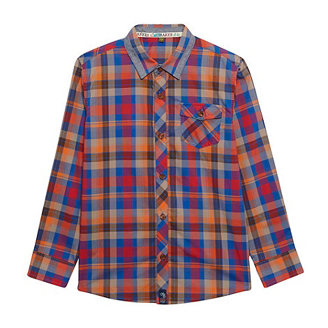Baker by Ted Baker - Boy+s blue tipped collar checked shirt