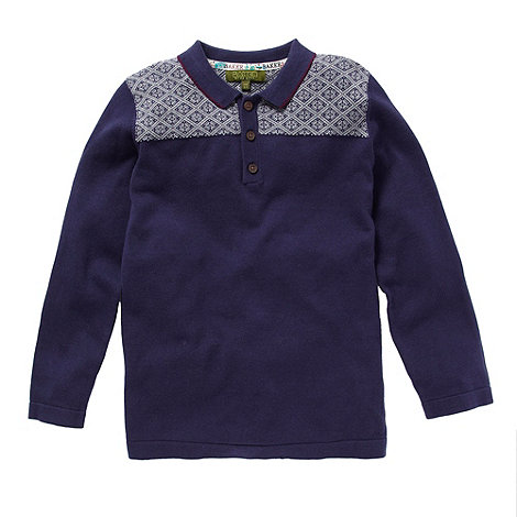 Baker by Ted Baker - Boy+s navy tiled knitted sweater