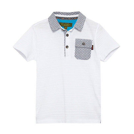 Baker by Ted Baker - Boy+s white pique striped polo shirt
