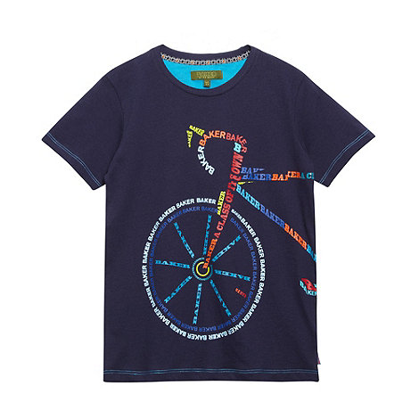 Baker by Ted Baker - Boy+s navy graphic bicycle print t-shirt