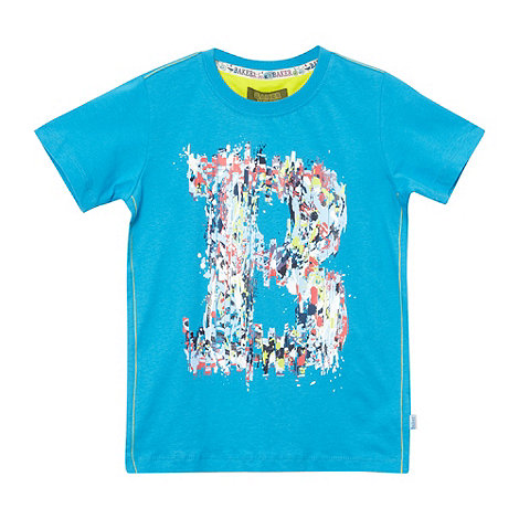 Baker by Ted Baker - Boy+s bright blue paint splash logo t-shirt