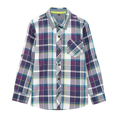 Baker by Ted Baker - Boy+s purple herringbone checked shirt