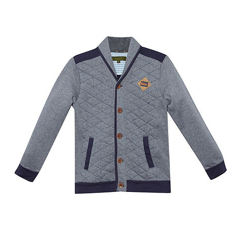 Baker by Ted Baker - Boy+s navy marled sweat cardigan