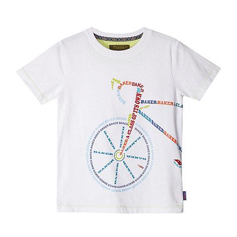 Baker by Ted Baker - Boy+s white logo bicycle print t-shirt