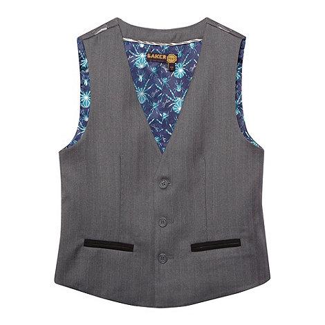 Baker by Ted Baker - Boy+s grey herringbone waistcoat