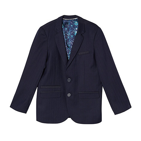 Baker by Ted Baker - Boy+s navy herringbone suit jacket