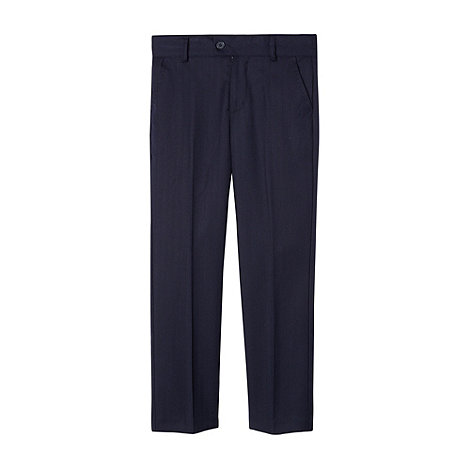 Baker by Ted Baker - Boy+s navy herringbone suit trousers