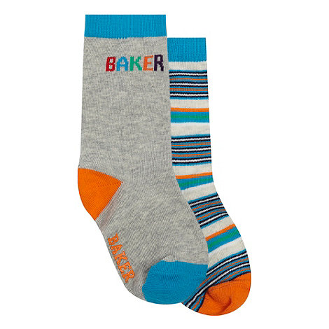 Baker by Ted Baker - Babies pack of two blue striped and logo socks