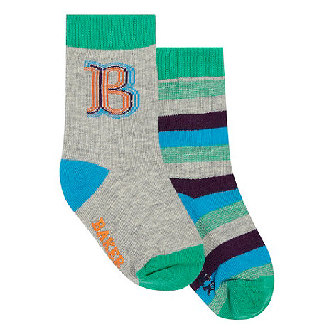 Baker by Ted Baker - Babies pack of two grey striped and line logo socks