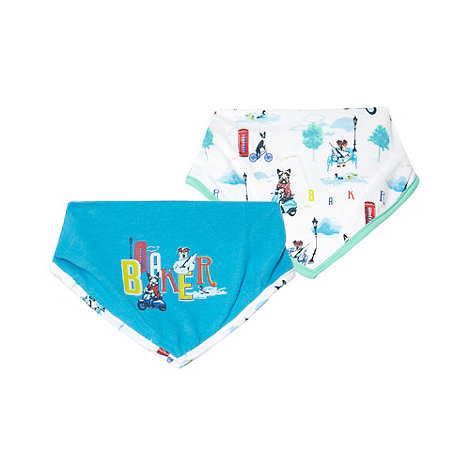 Baker by Ted Baker - Babies pack of two white and turquoise dog logo dribble bibs