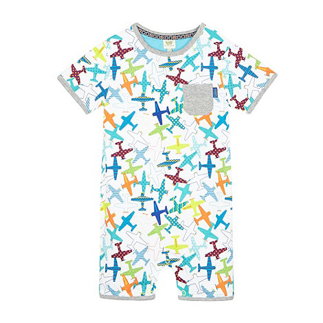 Baker by Ted Baker - Babies white aeroplane print romper suit