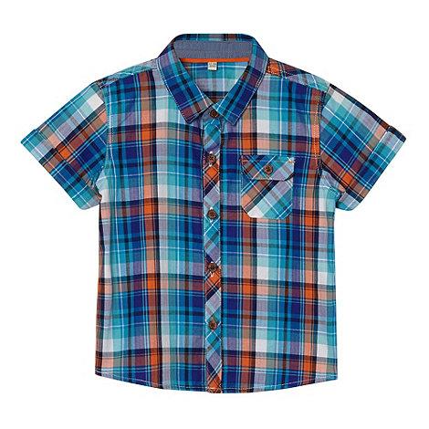 Baker by Ted Baker - Babies blue herringbone checked shirt