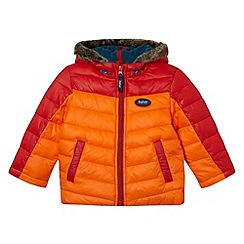 Baker by Ted Baker - Boy's red colour block faux fur hooded coat