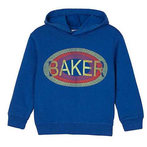 Baker by Ted Baker - Boy+s blue graphic logo print sweat hoodie