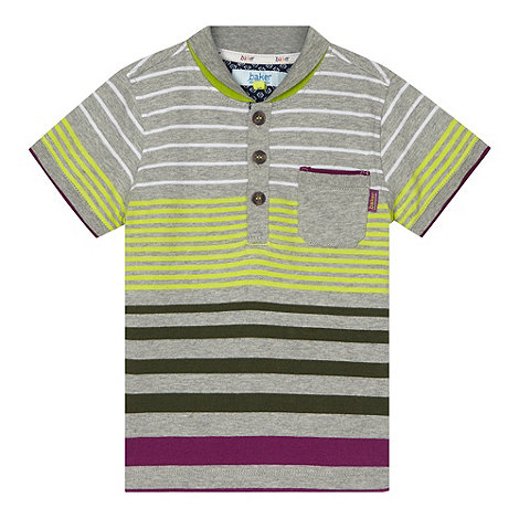 Baker by Ted Baker - Boy+s grey multi striped shawl polo shirt