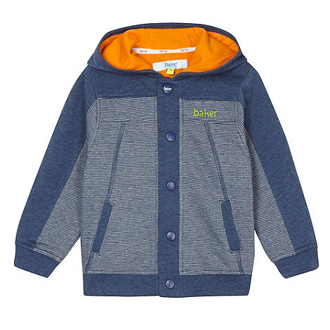 Baker by Ted Baker - Boy+s blue striped popper hoodie