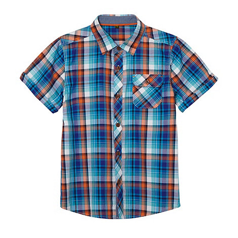 Baker by Ted Baker - Boy+s blue herringbone checked shirt