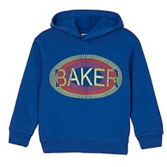 Baker by Ted Baker - Boy's blue graphic logo print sweat hoodie