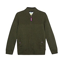 Baker by Ted Baker - Boy's dark green zip through knitted jacket