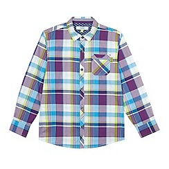 Baker by Ted Baker - Boy's purple checked long sleeve shirt