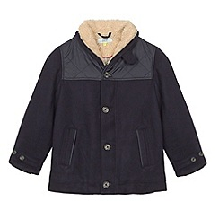 Baker by Ted Baker - Boy's navy wool panel shawl neck coat