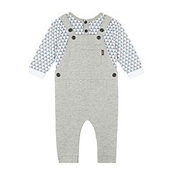 Baker by Ted Baker - Boy's grey panda dungarees and top set