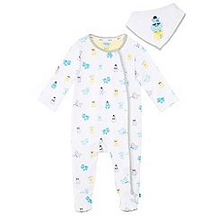 Baker by Ted Baker - Babies white hippo print sleepsuit and bib set
