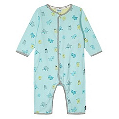 Baker by Ted Baker - Babies light turquoise hippo printed sleepsuit