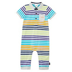 Baker by Ted Baker - Babies blue striped polo romper